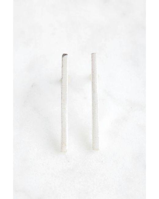 South Moon Under - Metallic Brushed Linear Bar Stud Earrings - Lyst