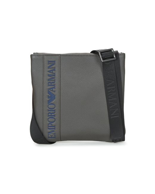 Emporio Armani | Gray Webbing Small Flat Messeger Men's Pouch In Grey for Men | Lyst
