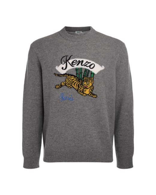 KENZO - Gray Jumping Tiger Grey Wool Jumper Men's Sweatshirt In Grey for Men - Lyst