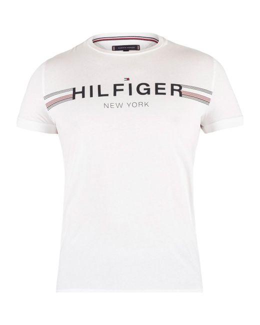 d02574d0 Tommy Hilfiger - Men's Flag T-shirt, White Men's T Shirt In White for ...