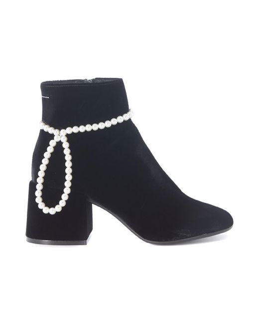 MM6 by Maison Martin Margiela - Black Faux Pearl Embellished Ankle Boots - Lyst