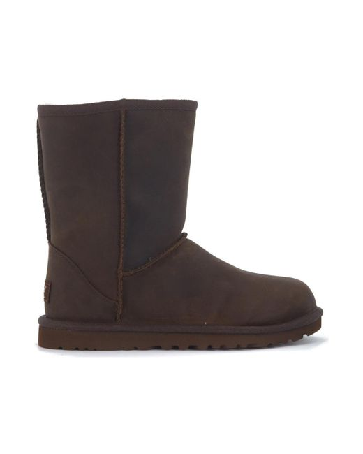 Ugg | Classic Ii Short Ankle Boots In Brown Leather Vintage Effect Women's Mid Boots In Brown | Lyst