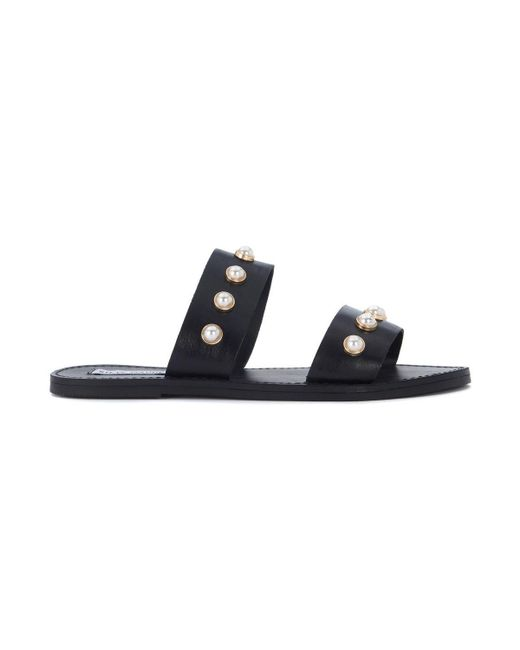 Steve Madden - Jole Black Leather Sandal With Pearls Women's Sandals In Black - Lyst
