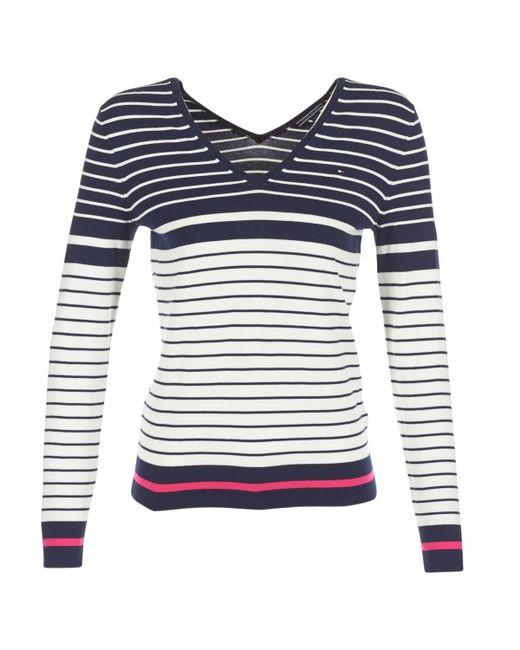 Tommy Hilfiger | Ivy Double V-nk Swtr Women's Sweater In Blue | Lyst