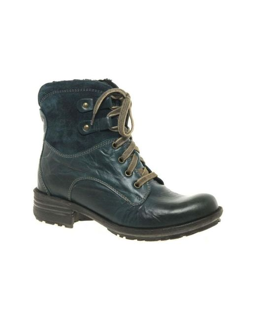 Josef Seibel Sandra 14 Womens Lace Up Boots Women's Mid Boots In Blue