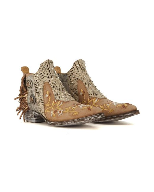 Mexicana Corus leather ankle boots with fringes and floral embroid women's Low Ankle Boots in Online e6id3b9u0