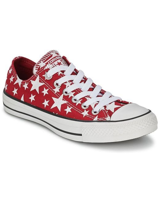Converse - Chuck Taylor All Star Multi Star Print Ox Women's Shoes (trainers) In Red - Lyst