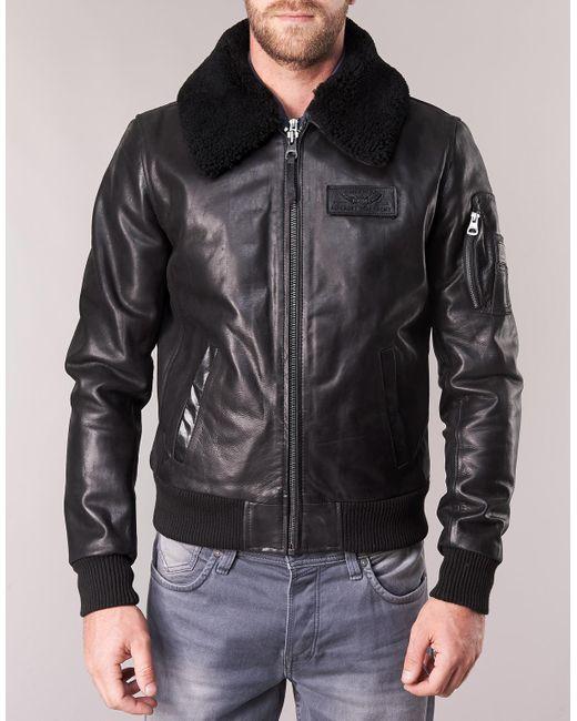 ... Redskins - Black Commander Striking Leather Jacket for Men - Lyst ... 069426d98a1