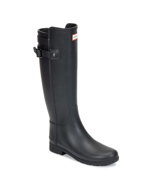 Hunter - Original Refined Strap Women's Wellington Boots In Black - Lyst