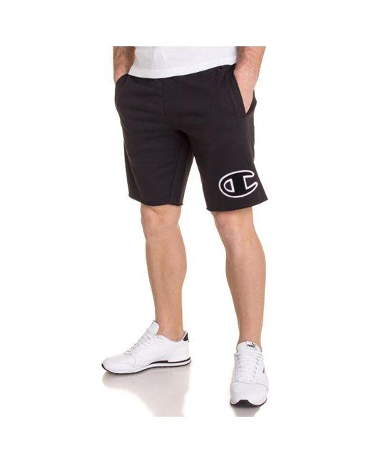 Bermuda détente noir avec logo pour homme hommes Short en Noir Champion pour homme en coloris Black
