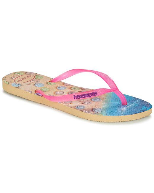 6ad8ce64dd699 Havaianas - Pink Slim Paisage Flip Flops   Sandals (shoes) - Lyst ...