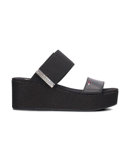 Tommy Hilfiger - Jeans Flatform Sandal Black Women's Mules / Casual Shoes In Black - Lyst