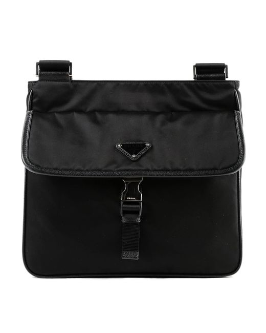 Prada - Black Crossbody Tessuto+saffiano for Men - Lyst