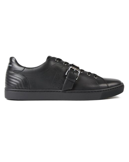 Dolce & Gabbana - Black Buckled Low Sneakers for Men - Lyst
