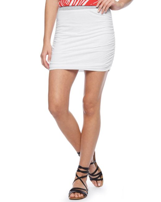 Splendid | White Light Jersey Shirred Skirt | Lyst