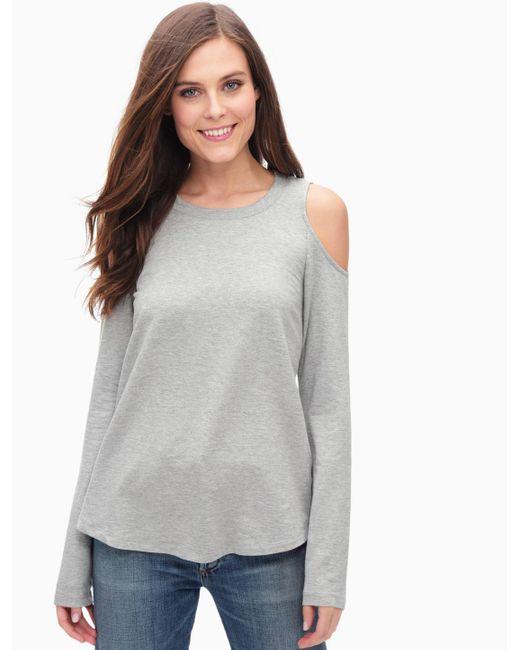 Splendid | Gray Cozy Melange Cold Shoulder Top | Lyst