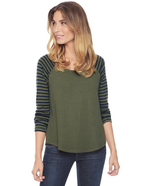 Splendid | Green Thermal Venice Stripe Raglan | Lyst