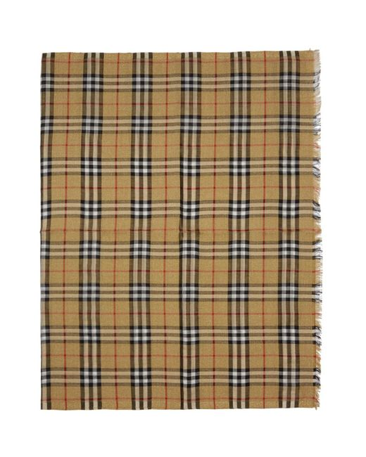 Burberry - Multicolor Yellow And Gold Check Scarf for Men - Lyst