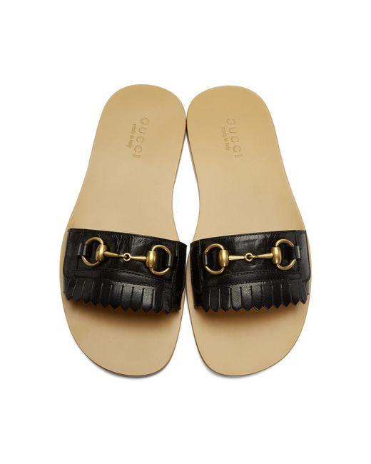534b5006c Lyst - Gucci Black Vardero Fringe Sandals in Black for Men