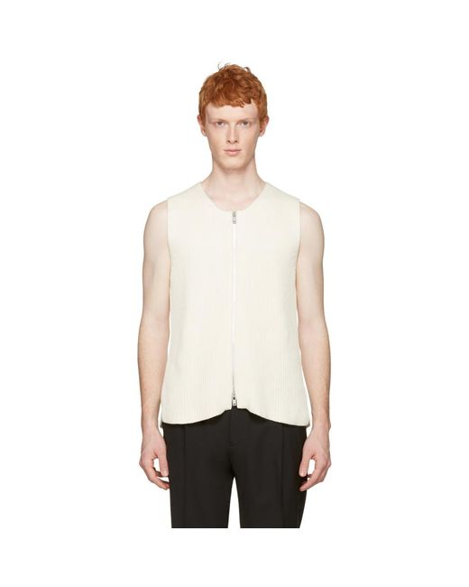 Maison Margiela - Off-white Rib Knit Zip Vest for Men - Lyst