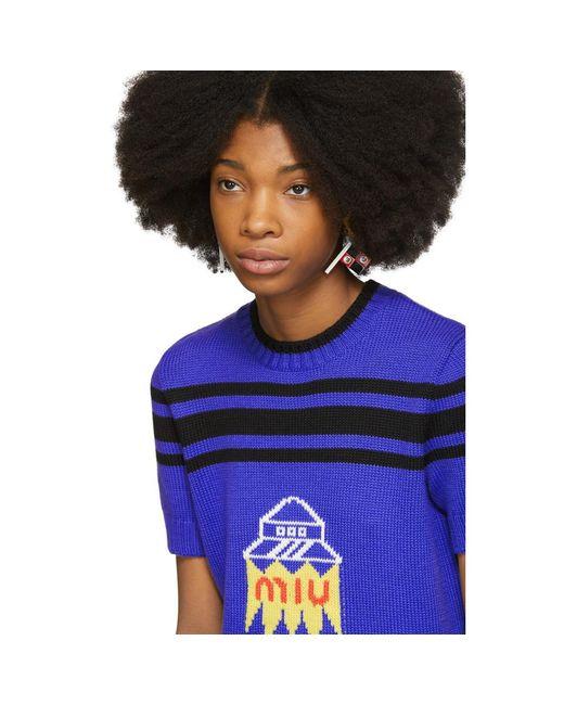 Blue Spaceship Knit Sweater Miu Miu Sale Excellent Ppv3WPO