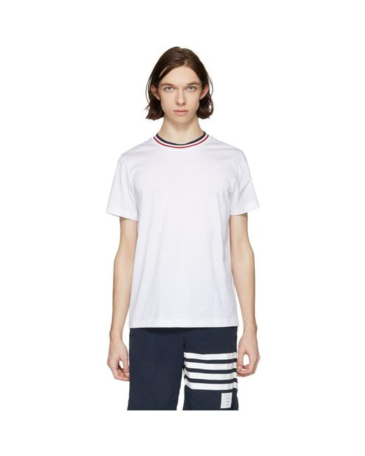 Moncler - White Tricolor Collar T-shirt for Men - Lyst