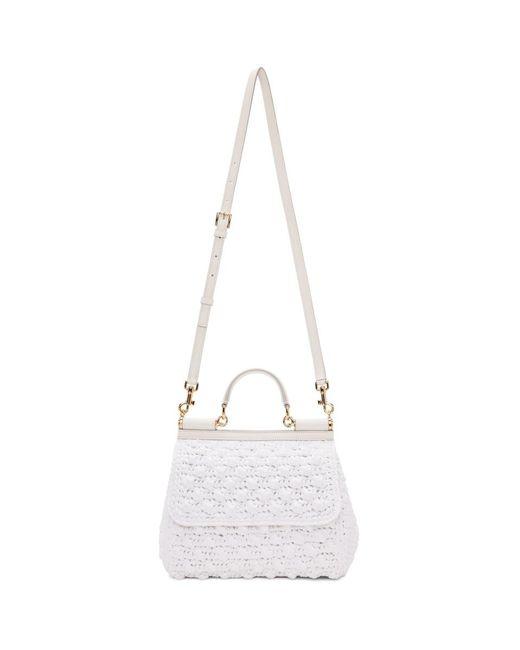 Dolce & Gabbana - White Medium Raffia Miss Sicily Bag - Lyst