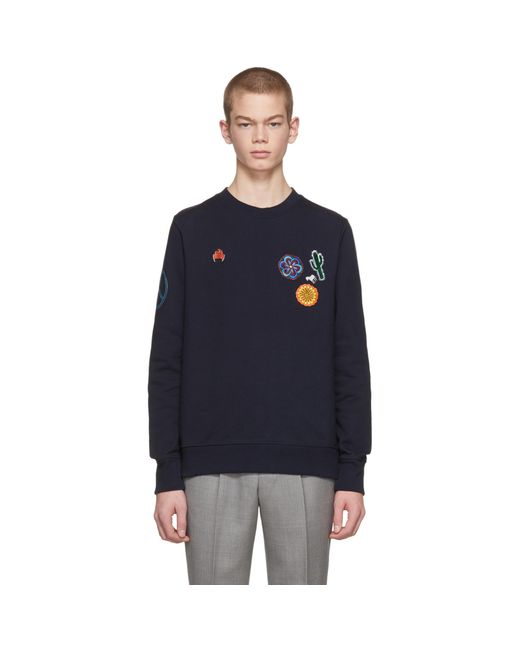 PS by Paul Smith | Blue Navy Embellished Crewneck Sweatshirt for Men | Lyst