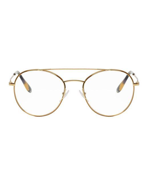 Prada - Metallic Gold Double Bridge Optical Glasses - Lyst