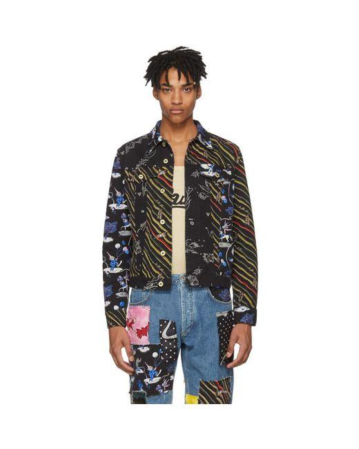 Loewe - Black Paulas Ibiza Edition Denim Multi Flag Stripe Jacket for Men - Lyst