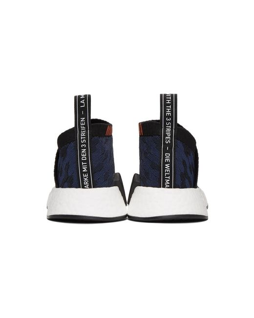lyst adidas originali nero e indigo nmd cs2 pk scarpe in nero
