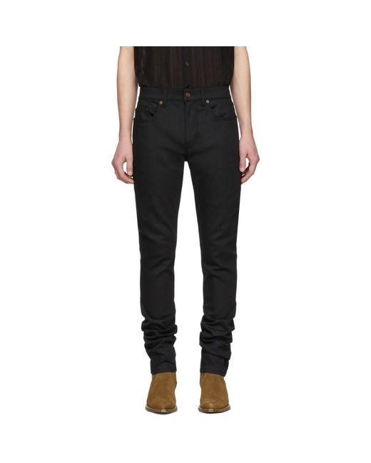 b04cf0e6052 Lyst - Saint Laurent Black Raw Skinny Jeans in Black for Men