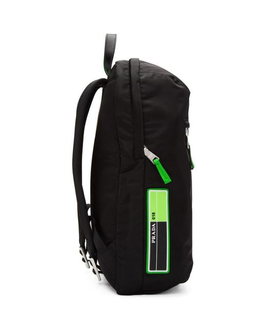 5bebbc28a911 Lyst - Prada Black And Green Large Logo Backpack in Black for Men ...