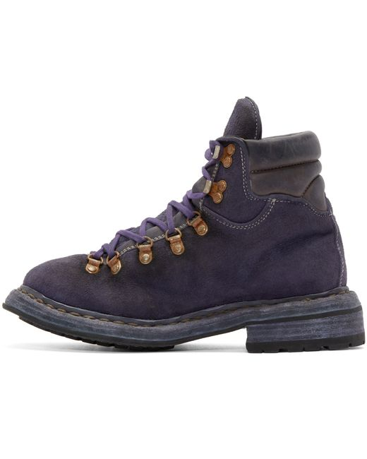 guidi purple suede hiking boots in purple for lyst