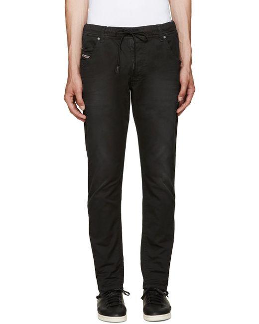 DIESEL   Black Thavar-dest Leather Pant for Men   Lyst