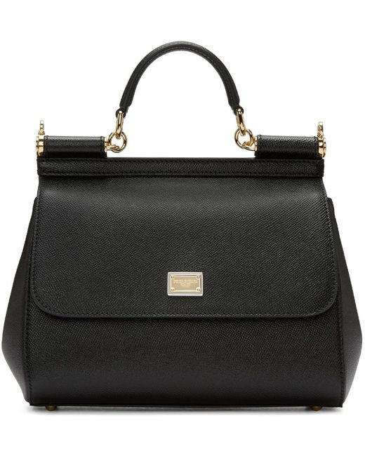 Dolce & Gabbana | Black Medium Sicily Dauphine Leather Bag | Lyst