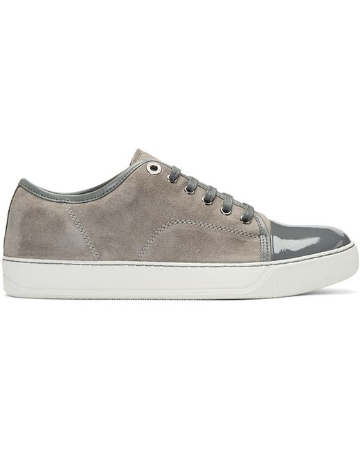lanvin grey suede classic tennis sneakers in gray for