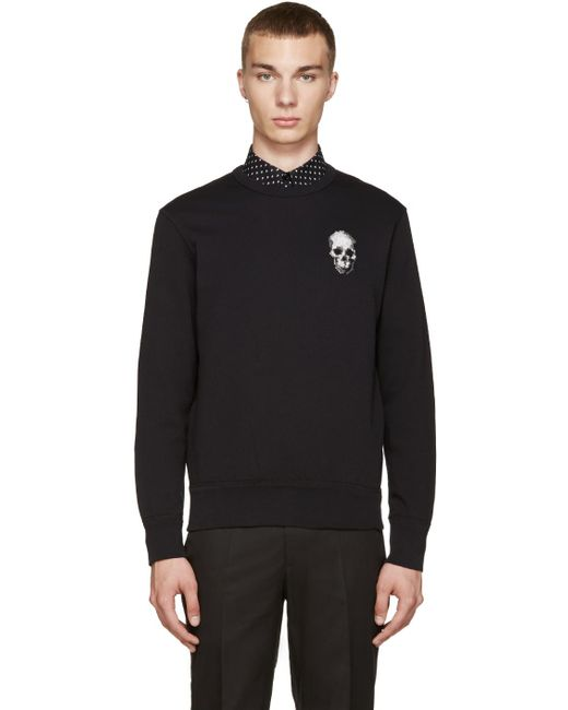 Alexander McQueen   Black Embroidered Skull Pullover for Men   Lyst