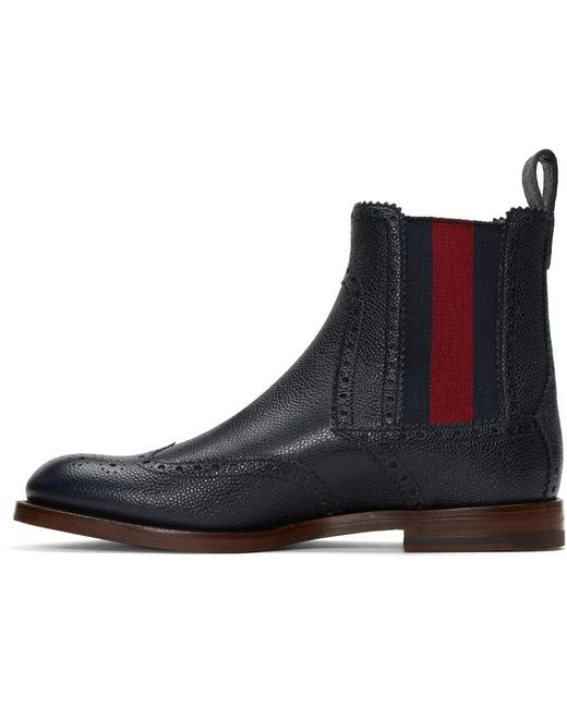 Gucci Navy Band Chelsea Boots In Blue For Men Lyst
