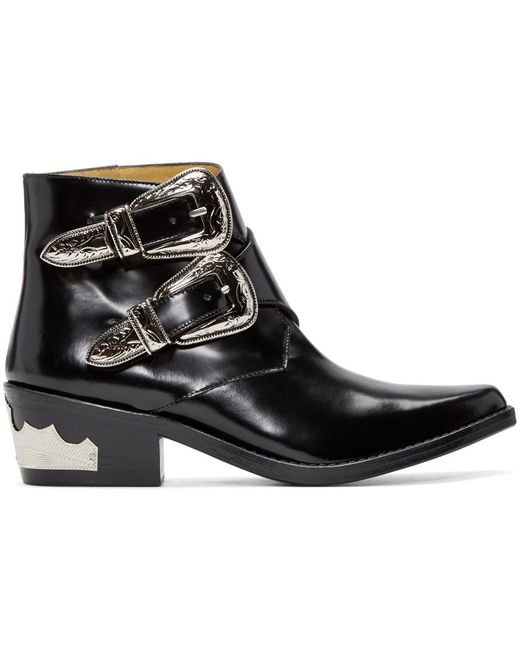 toga pulla buckle leather ankle boots in black