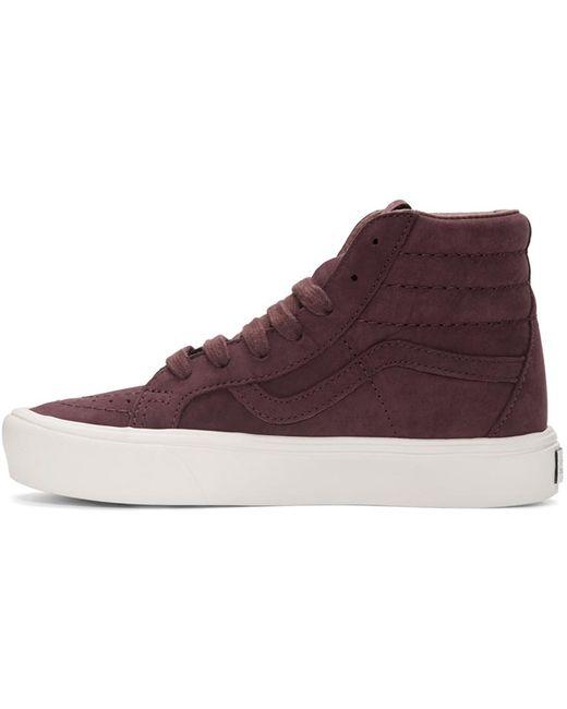 Vans Burgundy Nubuck Sk8-hi Reissue Lite Lx Sneakers In