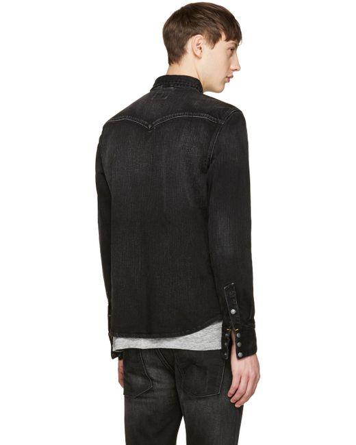 Nudie jeans Black Denim Jonis Shirt in Black for Men | Lyst