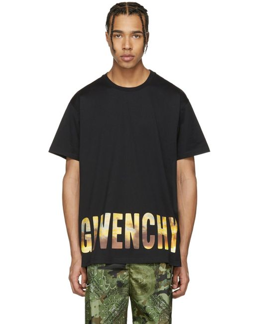 Givenchy | Black Logo Horizon T-shirt for Men | Lyst