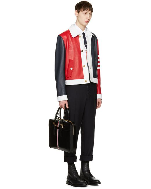 Thom browne Tricolor Leather Harrington Jacket in ...