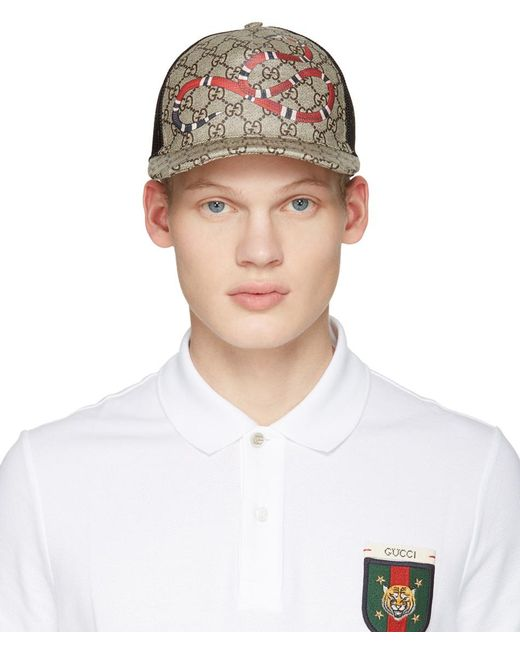 Gucci   Natural Beige Logo & Snake Cap for Men   Lyst