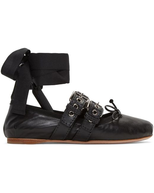 Miu Miu | Black Buckle-embellished Leather Ballerinas | Lyst