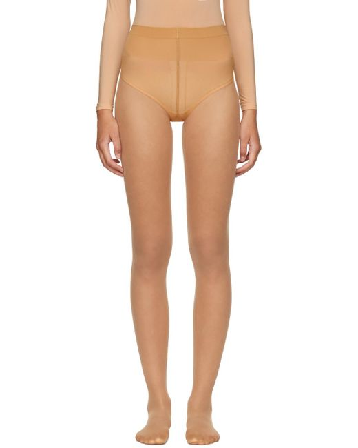 Wolford | Natural Beige Individual 10 Back Seam Tights | Lyst