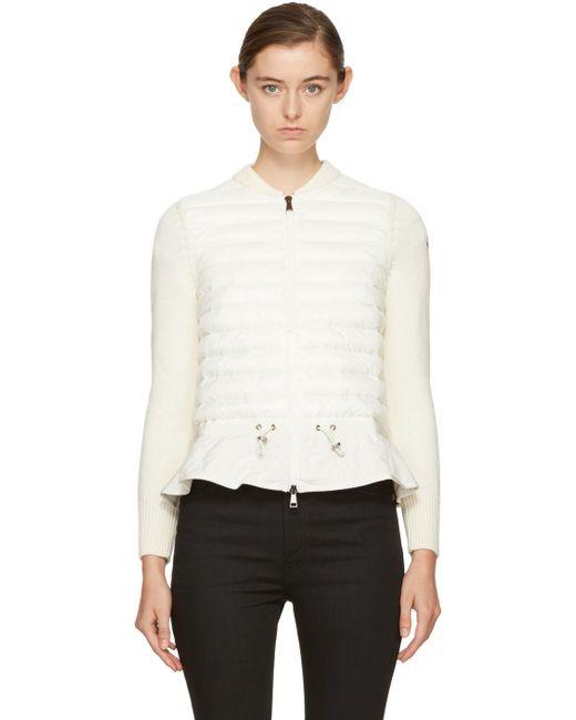 Moncler   Off-white Down Knit Peplum Jacket   Lyst