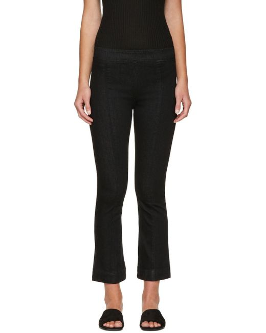 Helmut Lang   Black Pull-on Crop Flare Trousers   Lyst