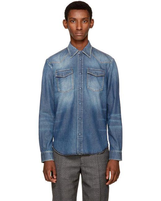 Maison Margiela   Blue Indigo Denim Western Shirt for Men   Lyst